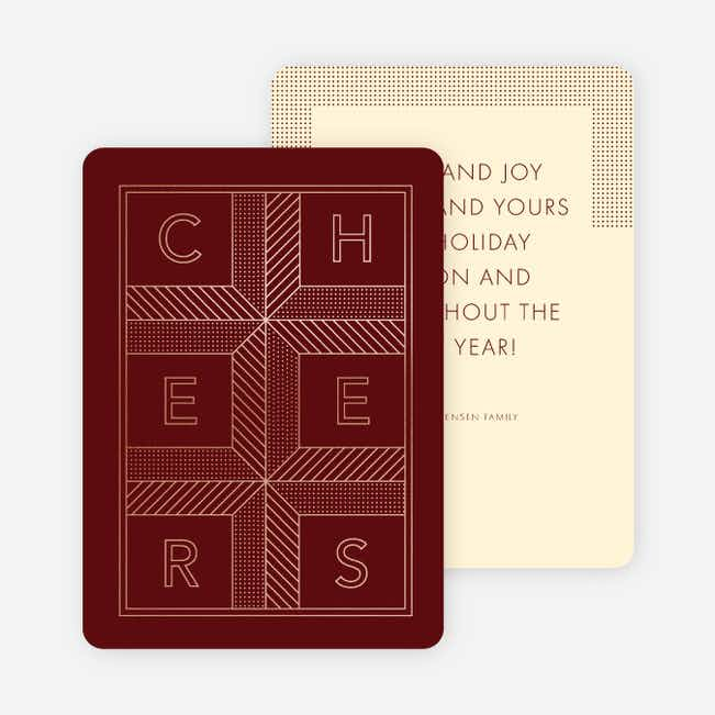 Square Cheers New Year Cards - Red
