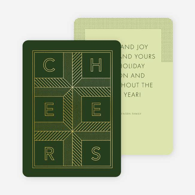 Square Cheers New Year Cards - Green