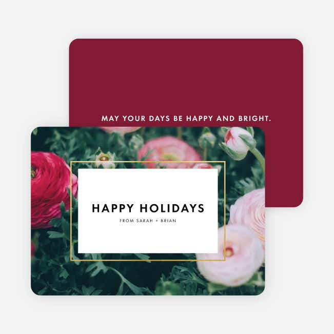 Bouquet Border Holiday Cards - Red
