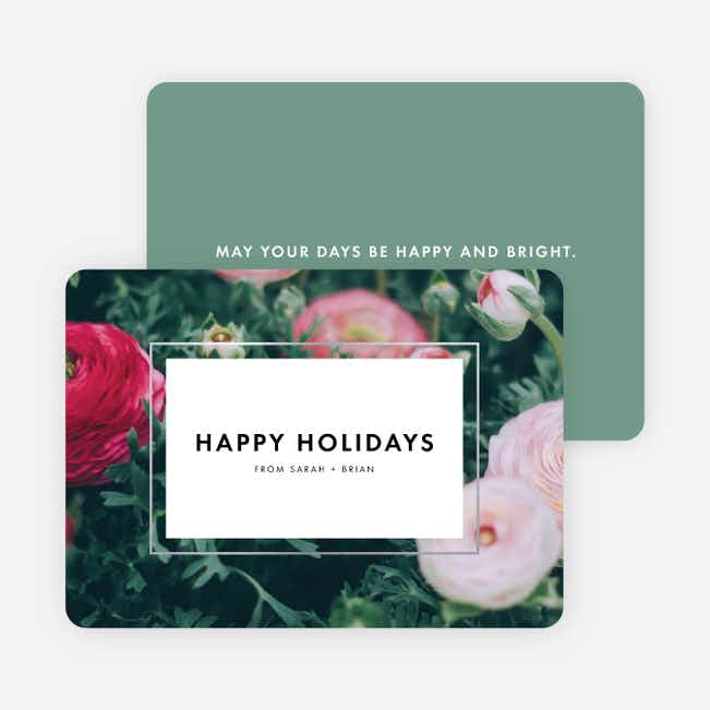 Bouquet Border Holiday Cards - Green