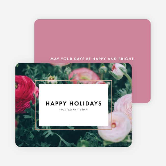 Bouquet Border Holiday Cards - Purple