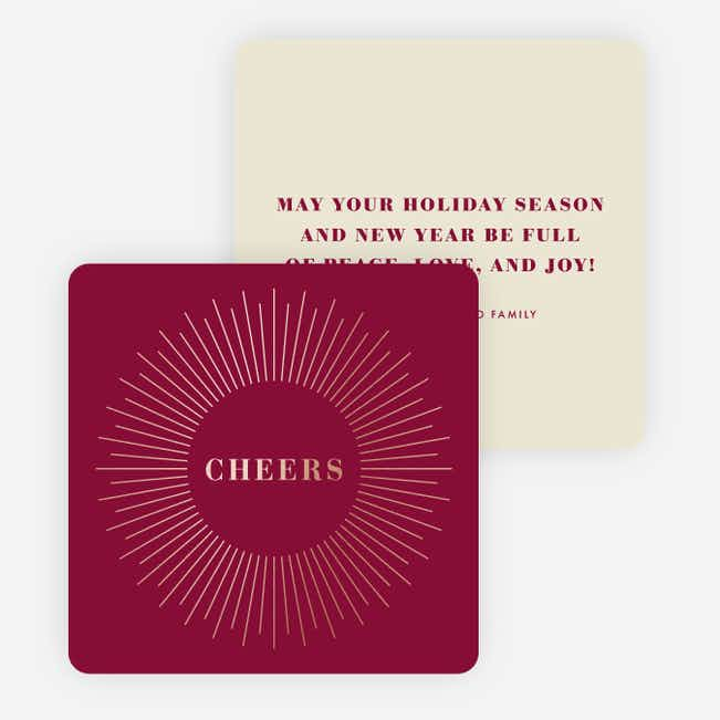 Foil Bursts of Joy Holiday Cards - Red
