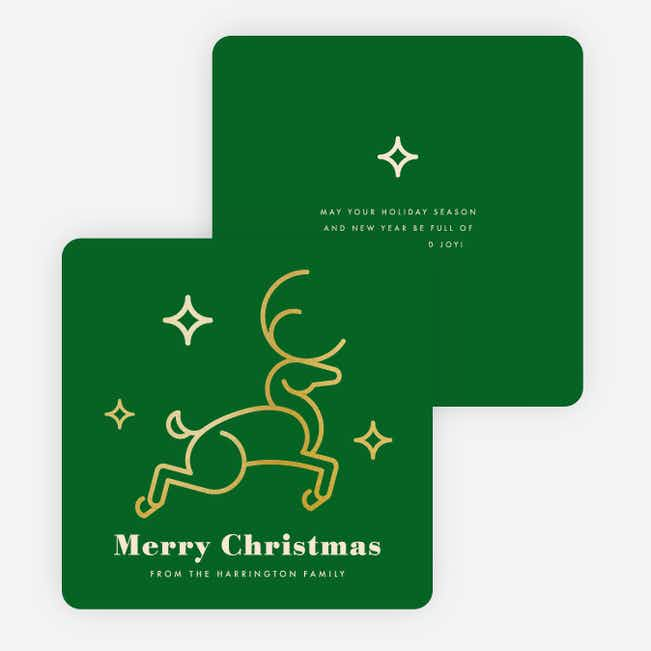 Foil Christmas Reindeer Family Holiday Cards - Green