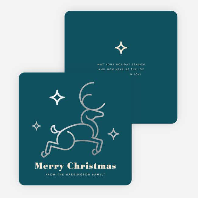Foil Christmas Reindeer Family Holiday Cards - Blue
