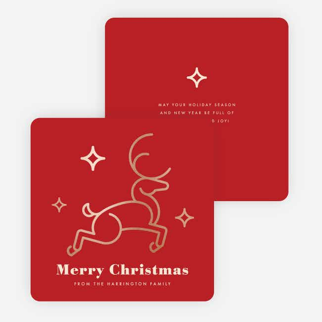 Foil Christmas Reindeer Family Holiday Cards - Red
