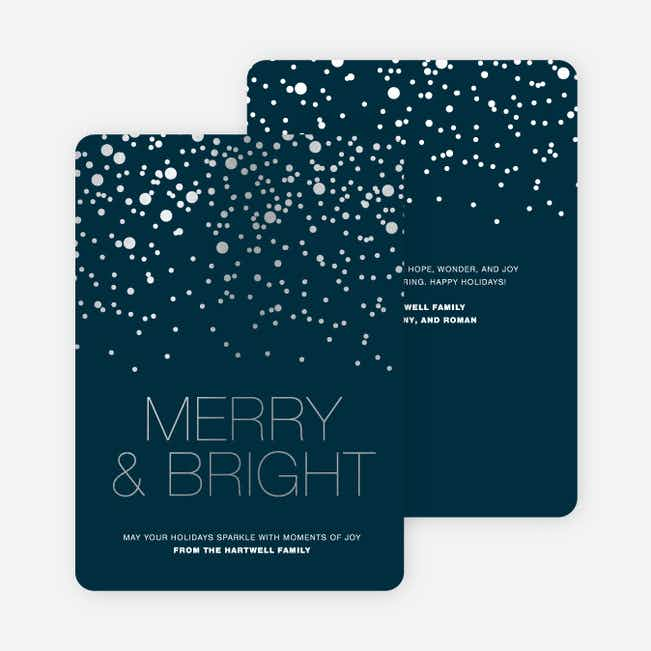 Foil Snow Holiday Cards - Blue