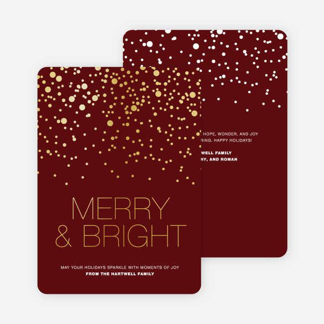 Foil Snow Holiday Cards - Red