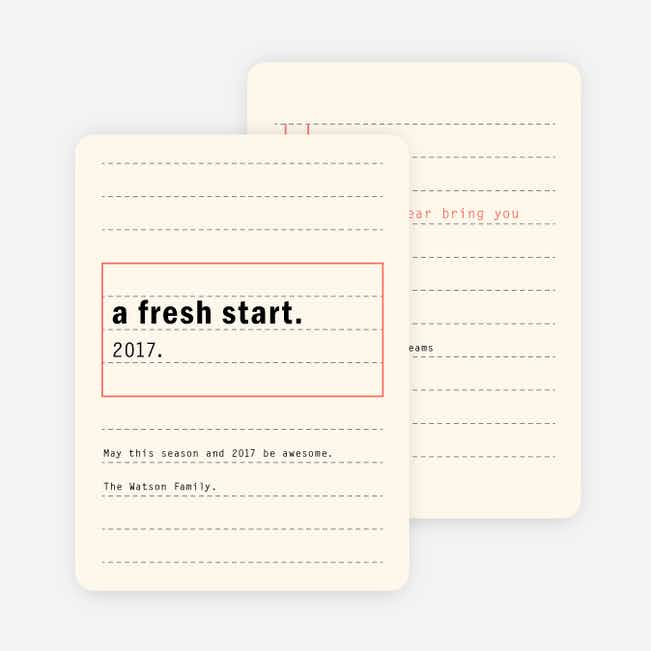 Fresh Start New Year Cards - Beige