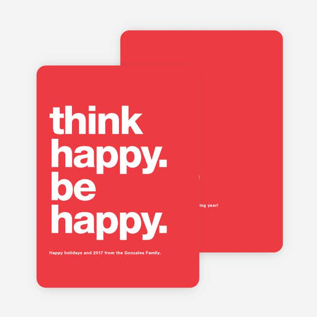 Be Happy New Year Cards - Red