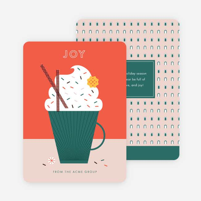 Hot Cocoa Cheers Corporate Holiday Cards - Red