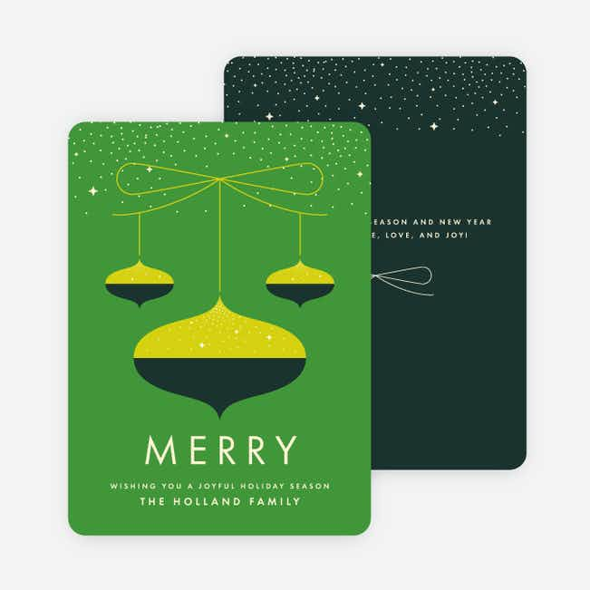 Merry Ornaments Family Christmas Cards - Green
