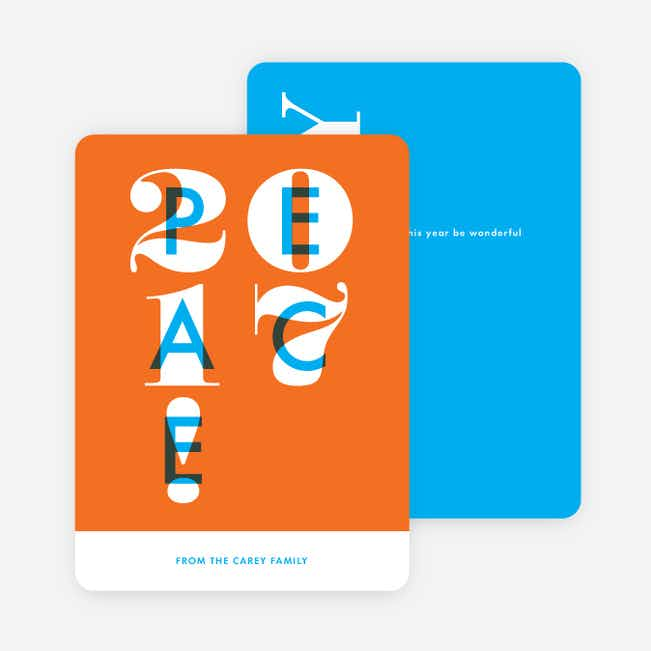 Peace Overlay New Year Cards - Orange