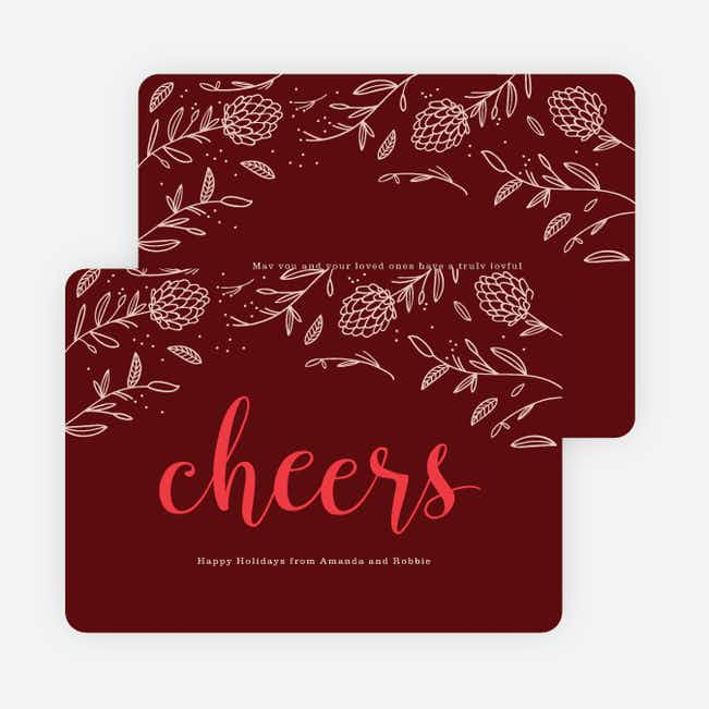 Pinecone Details Holiday Cards - Red