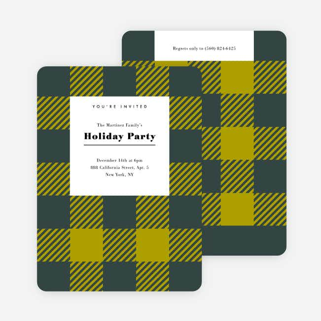 Plaid Party Holiday Invitations  - Green