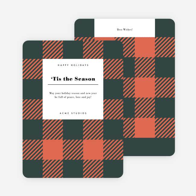 Seasonal Plaid Corporate Holiday Cards - Red