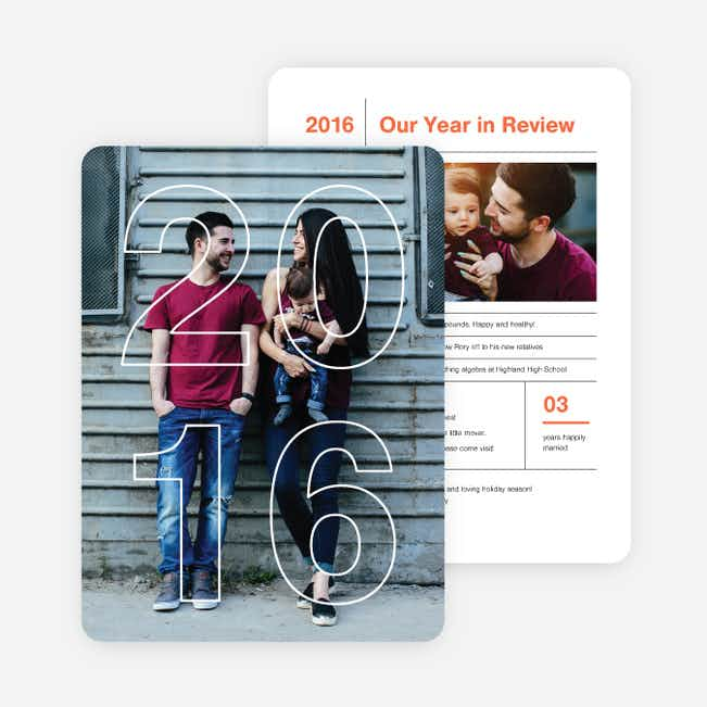 2016 Infographic Holiday Photo Cards - Red