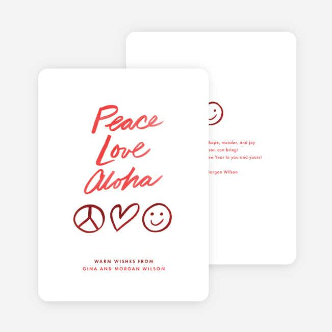 Aloha & Peace Holiday Cards - Red