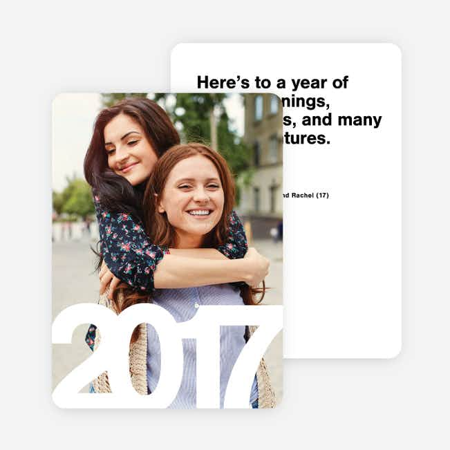 Bold Numbers Photo New Years Cards - Black
