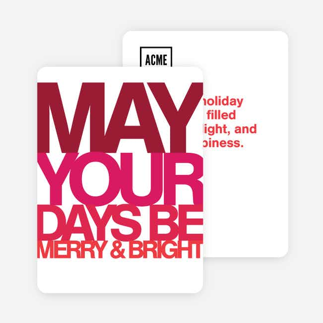 Bold Words Corporate Holiday Cards - Red