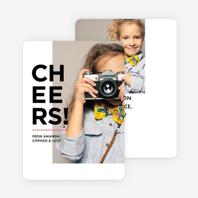 Cheers of Joy Photo Holiday Cards - Black