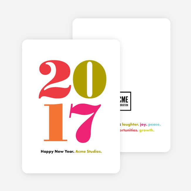 Colorful Year Corporate New Year Cards - Red