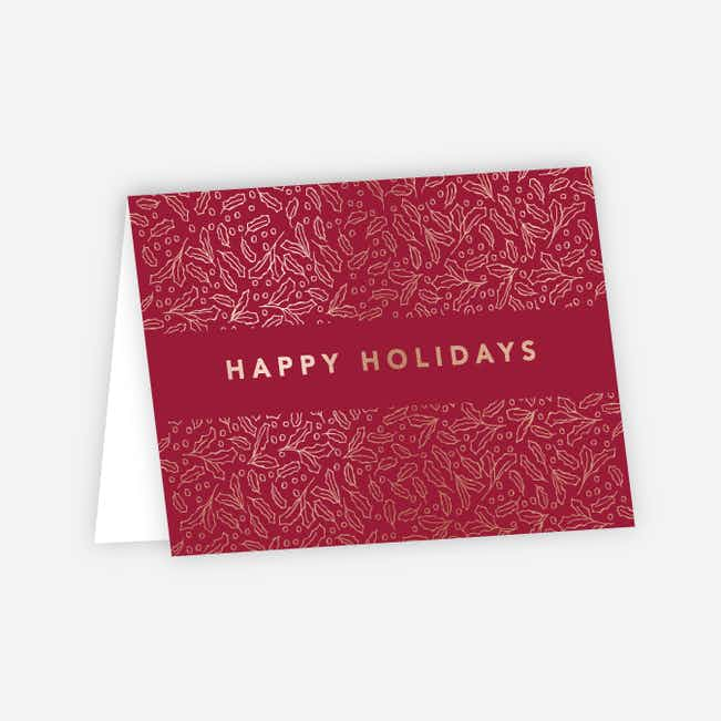 Foil Band of Leaves Corporate Holiday Cards - Red