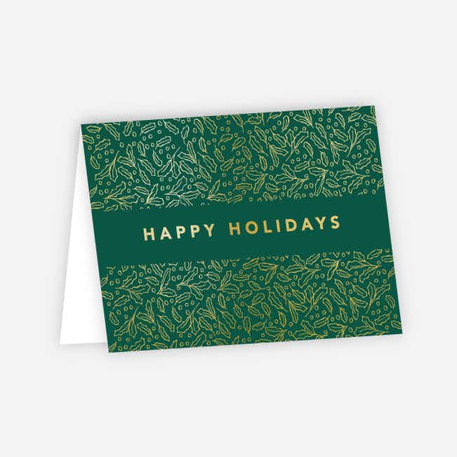 Foil Band of Leaves Corporate Holiday Cards - Green