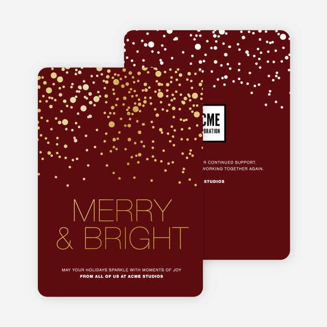 Foil Dot Patterns Corporate Holiday Cards - Red