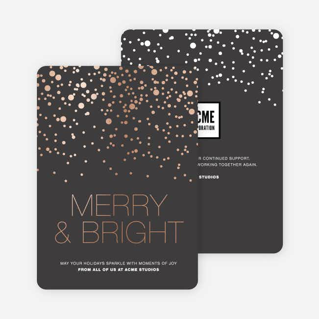 Foil Dot Patterns Corporate Holiday Cards - Gray