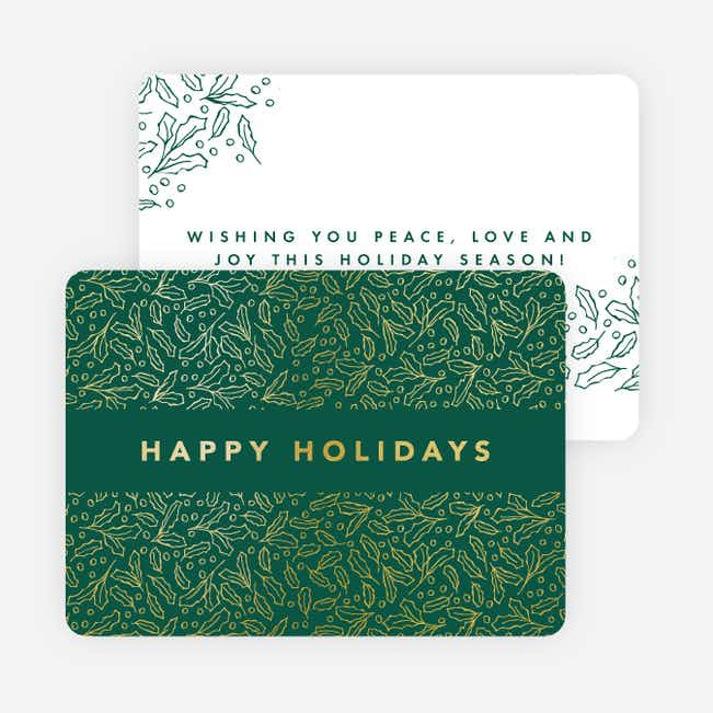 Foil Leaves All Around Holiday Cards - Green