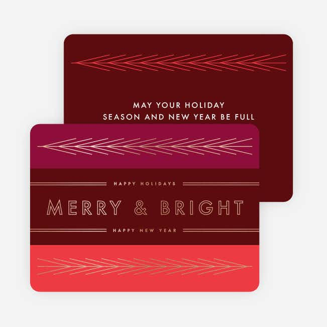Foil Lines & Leaves Holiday Cards - Red