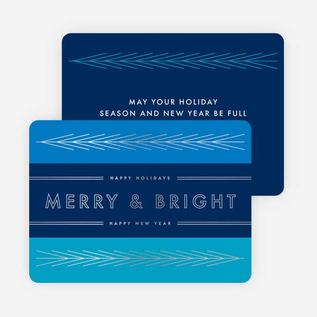Foil Lines & Leaves Holiday Cards - Blue