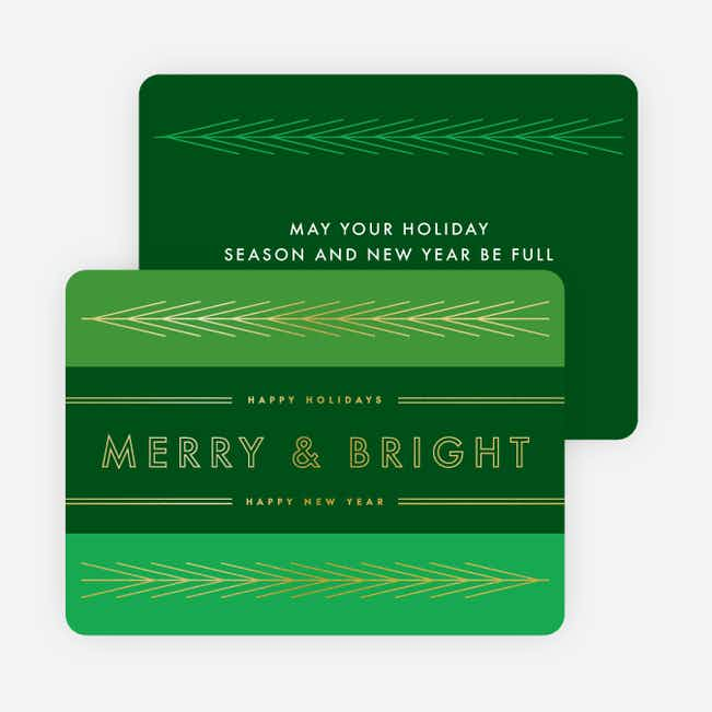 Foil Lines & Leaves Holiday Cards - Green