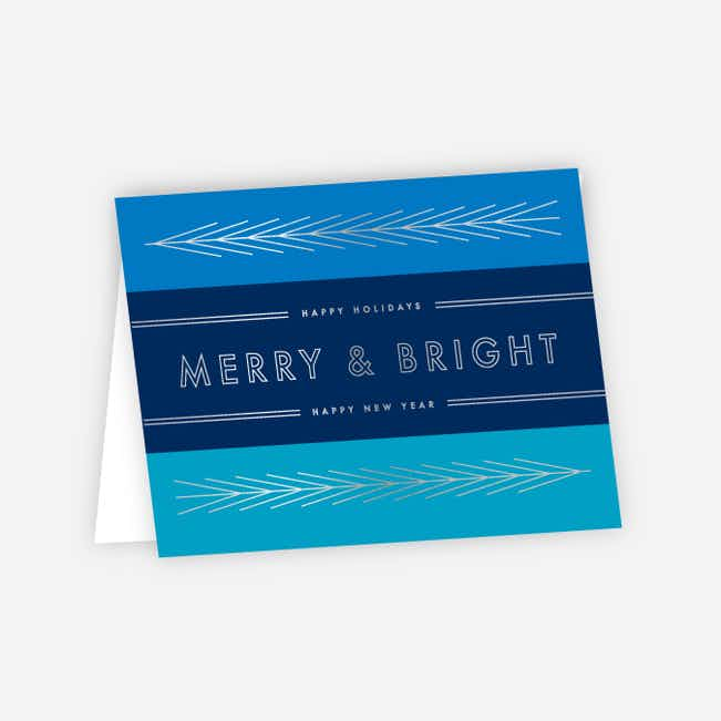 Foil Obtuse Angles Corporate Holiday Cards - Blue