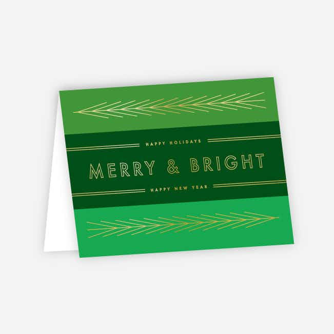 Foil Obtuse Angles Corporate Holiday Cards - Green