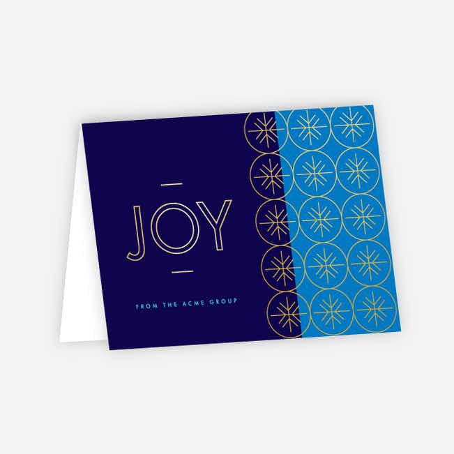 Geometric Snowflakes Corporate Holiday Cards - Blue