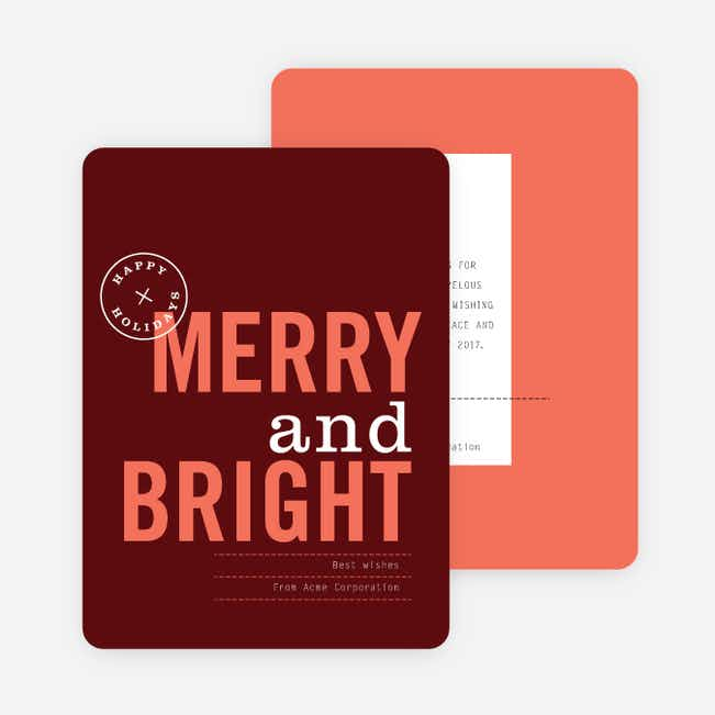 Happy Holidays Seal Corporate Holiday Cards - Red