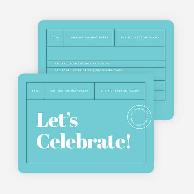 Postcard Themed Corporate Holiday Cards - Blue