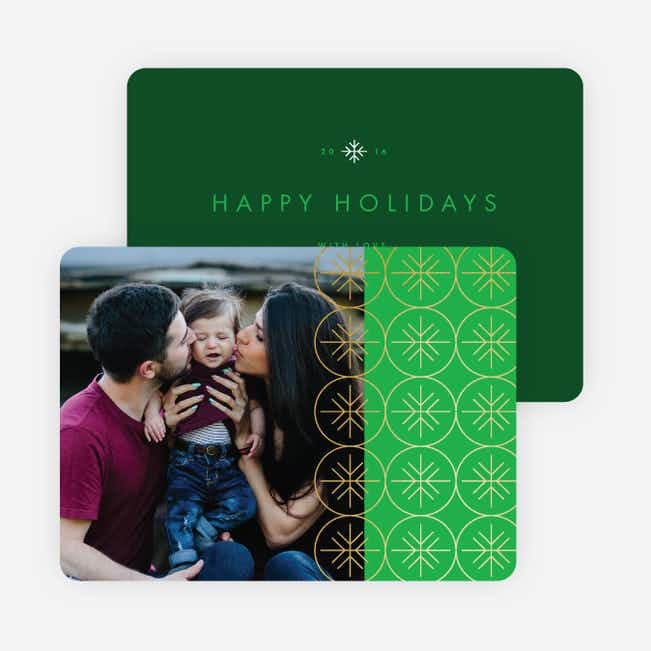 Snowflakes Falling Holiday Cards - Green