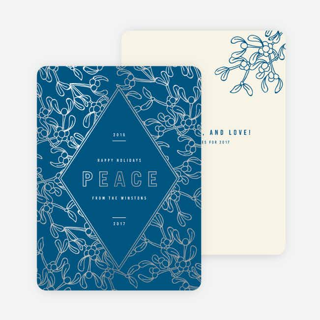 Foil Holly Accents Holiday Cards - Blue