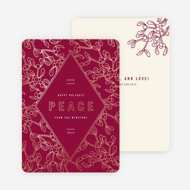 Foil Holly Accents Holiday Cards - Red