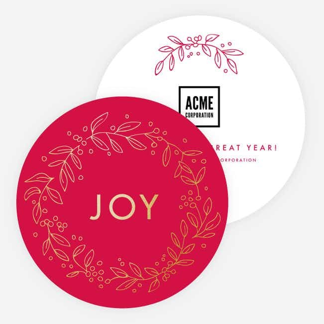 Foil Joy Wreath Corporate Holiday Cards - Red