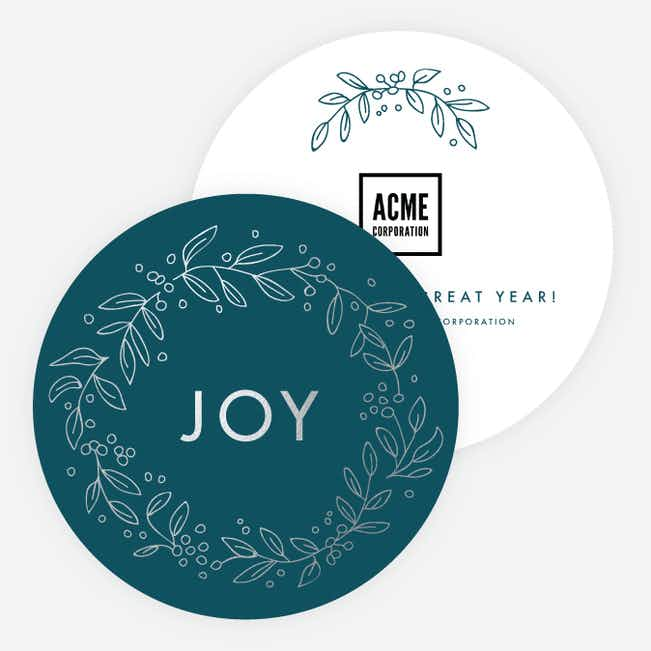 Foil Joy Wreath Corporate Holiday Cards - Blue