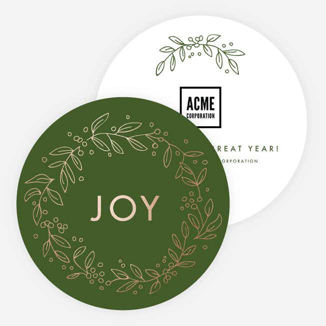 Foil Joy Wreath Corporate Holiday Cards - Green