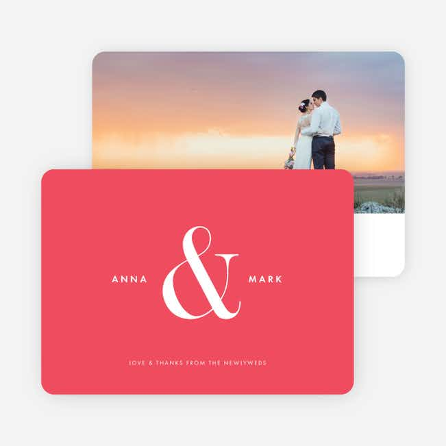 Ampersand Wedding Thank You Cards - Red