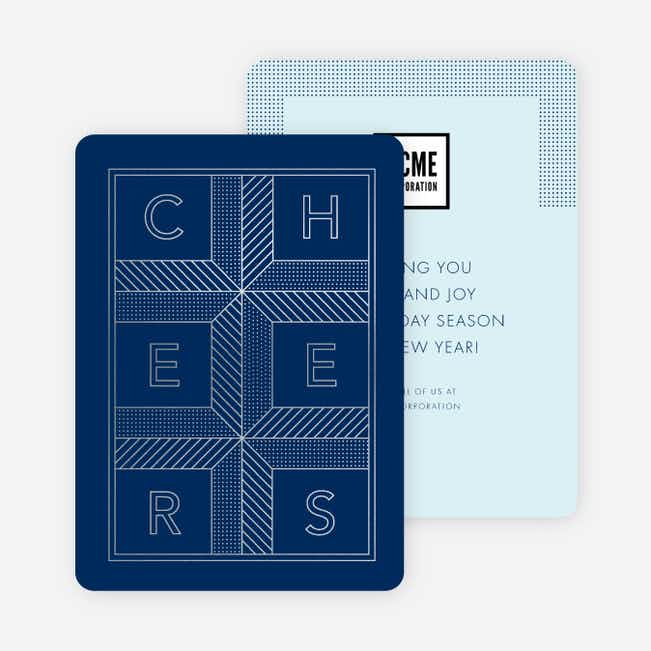 Cheers Grid New Year Cards - Blue