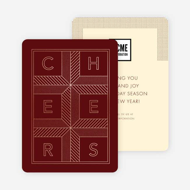Cheers Grid New Year Cards - Red