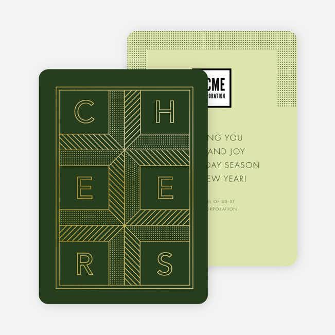 Cheers Grid New Year Cards - Green