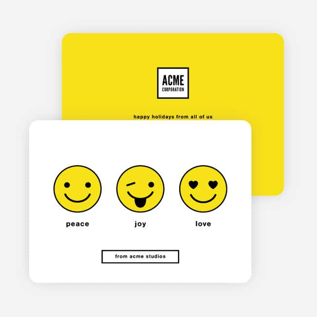 Emoticon Fun Corporate Holiday Cards - Yellow