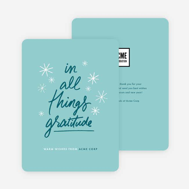 Express Gratitude Corporate Holiday Cards - Blue
